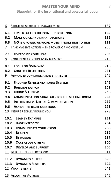 Master Your Mind - TOC Page 2- Professional Development and Leadership Skills